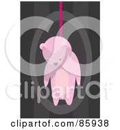 Royalty Free RF Clipart Illustration Of A Hanging Pink Teddy Bear With A Rope by mayawizard101