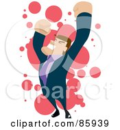 Royalty Free RF Clipart Illustration Of A Celebrating Brunette Businessman Holding His Arms Up by mayawizard101