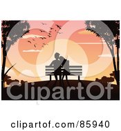 Royalty Free RF Clipart Illustration Of A Silhouetted Couple Sitting In A Bench And Watching The Sun Set by mayawizard101