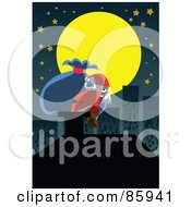 Royalty Free RF Clipart Illustration Of Santa Resting On A Chimney Under A Full Moon In The City by mayawizard101