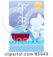 Royalty Free RF Clipart Illustration Of A Happy Blue Whale Spraying Water