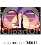 Royalty Free RF Clipart Illustration Of A Couple Adoring Each Other Against A Sunset