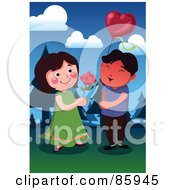 Royalty Free RF Clipart Illustration Of A Young Couple Exchanging A Rose And Balloon by mayawizard101