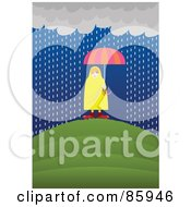 Caucasian Woman Shielded By An Umbrella Under A Rain Cloud
