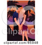 Royalty Free RF Clipart Illustration Of A Young Couple About To Kiss Against A Tropical Sunset