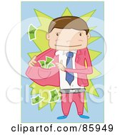 Royalty Free RF Clipart Illustration Of A Pick Pocketer Businessman Revealing Cash In Hs Jacket by mayawizard101