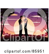 Royalty Free RF Clipart Illustration Of A Romantic Gay Couple Standing And Kissing Against A Sunset