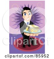 Royalty Free RF Clipart Illustration Of A Friendly Businessman Serving A Tray Of Cash And Coins by mayawizard101