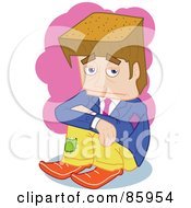 Royalty Free RF Clipart Illustration Of A Poor Brunette Block Head Businessman by mayawizard101
