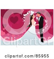 Royalty Free RF Clipart Illustration Of A Romantic Wedding Couple With Magical Hearts Over Pink by mayawizard101