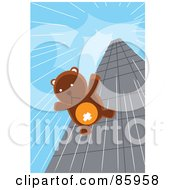 Royalty Free RF Clipart Illustration Of A Teddy Bear Falling Down From The Top Of A Skyscraper by mayawizard101