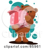 Royalty Free RF Clipart Illustration Of A Teddy Bear Carrying A Pink Present by mayawizard101