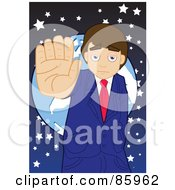 Royalty Free RF Clipart Illustration Of A Businessman Standing In Front Of A Globe Holding His Hand Up by mayawizard101