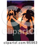 Royalty Free RF Clipart Illustration Of A Couple Embracing Against A Tropical Sunset