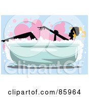 Royalty Free RF Clipart Illustration Of A Silhouetted Lady Sudsing Up With A Glove In A Bubble Bath by mayawizard101