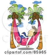 Royalty Free RF Clipart Illustration Of A Relaxed Businessman Napping In A Hammock Between Coconut Palm Trees by mayawizard101