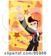 Royalty Free RF Clipart Illustration Of A Successful Businessman Holding His Finger Up by mayawizard101