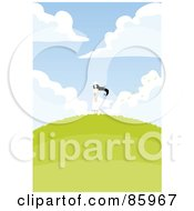 Royalty Free RF Clipart Illustration Of A Pretty Woman In A White Dress And Hat Standing On A Hill Top