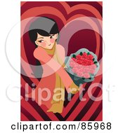 Royalty Free RF Clipart Illustration Of A Romantic Woman Holding Out A Bouquet Of Red Roses