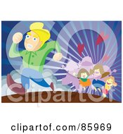 Royalty Free RF Clipart Illustration Of A Group Of Ladies Chasing After A Man by mayawizard101
