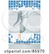 Royalty Free RF Clipart Illustration Of A Showering Woman With Bubbles Against Blue Tiles