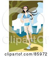 Royalty Free RF Clipart Illustration Of A Caucasian Woman Jogging On A Park Path by mayawizard101