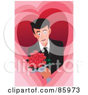 Royalty Free RF Clipart Illustration Of A Romantic Man Holding Out A Bouquet Of Red Roses by mayawizard101