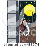 Royalty Free RF Clipart Illustration Of Santa Climbing A Skyscraper