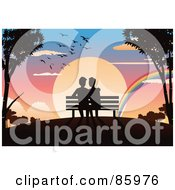 Romantic Gay Couple Sitting On A Bench Watching A Rainbow In Front Of A Sunset