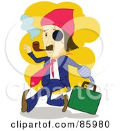 Royalty Free RF Clipart Illustration Of A Caucasian Pirate Businessman With A Hook Eye Patch And Pipe