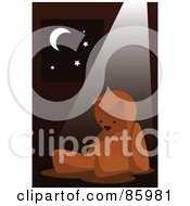 Royalty Free RF Clipart Illustration Of A Light Shining On A Lonely Teddy Bear By A Window