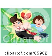 Royalty Free RF Clipart Illustration Of A Woman With A Broken Heart Socking A Man In The Face by mayawizard101