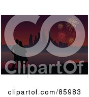 Royalty Free RF Clipart Illustration Of A Silhouetted Couple Watching Fireworks Over A Coastal City by mayawizard101