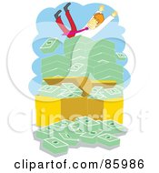 Royalty Free RF Clipart Illustration Of A Businessman Falling On Top Of A Giant Stack Of Cash by mayawizard101