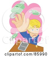 Royalty Free RF Clipart Illustration Of A Grouchy Business Man Trying To Catch His Flying Money by mayawizard101