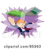 Royalty Free RF Clipart Illustration Of A Red Haired Businessman Leaping To Grab His Laptop And Briefcase by mayawizard101