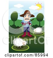 Royalty Free RF Clipart Illustration Of A Farmer Watching Over His Sheep by mayawizard101