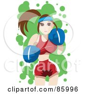 Brunette Female Boxer Throwing Punches