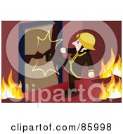 Royalty Free RF Clipart Illustration Of A Fireman Kicking In A Door by mayawizard101