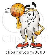 Tooth Mascot Cartoon Character Spinning A Basketball On His Finger