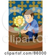 Royalty Free RF Clipart Illustration Of A Brunette Businessman Crouching And Planting A Money Flower