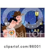 Royalty Free RF Clipart Illustration Of A Gay Couple Walking Through A City On A Snowy Night by mayawizard101