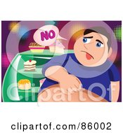 Royalty Free RF Clipart Illustration Of A Fat Man Denying Himself Sweets by mayawizard101