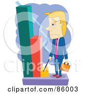 Royalty Free RF Clipart Illustration Of A Blond Businessman Looking Grumpily At A Decreasing Bar Graph by mayawizard101