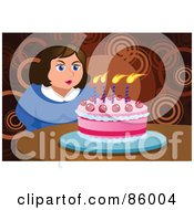 Royalty Free RF Clipart Illustration Of A Chubby Woman Making A Wish And Blowing Out Her Birthday Cake Candles by mayawizard101