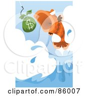 Royalty Free RF Clipart Illustration Of A Leaping Fish About To Eat Money by mayawizard101