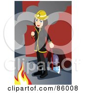 Royalty Free RF Clipart Illustration Of A Fire Woman Holding An Ax And Standing Between A Fire Engine And Flames