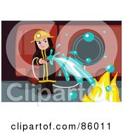Royalty Free RF Clipart Illustration Of A Fireman Using A Hose To Put Out A Fire by mayawizard101