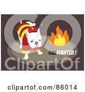 Royalty Free RF Clipart Illustration Of A Fire Department Dog Peeing On Flames