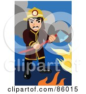 Royalty Free RF Clipart Illustration Of A Fireman Holding An Ax Among Flames by mayawizard101
